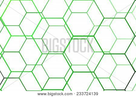 Sport Background. Green Net. Backdrop. Hexagon. Icon.