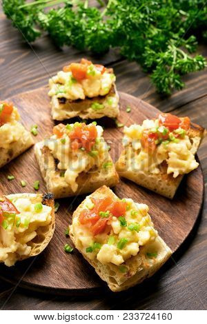 Sandwiches With Scrambled Eggs, Green Onion And Tomato. Healthy Snack