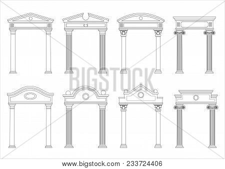 A Set Of Silhouettes Of Classic Vintage Arches And Facades. Templates For Colorings. Vector Graphics