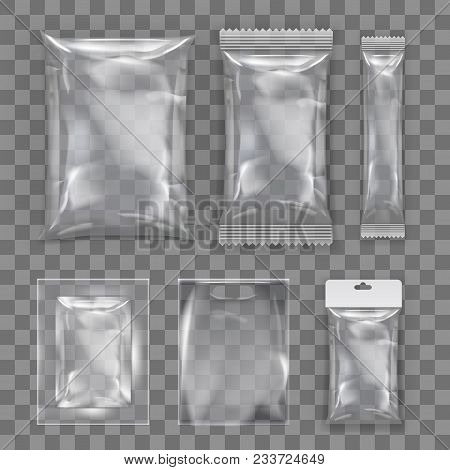 Realistic Transparent Empty Plastic Food Packaging Template Set. Eps10 Vector