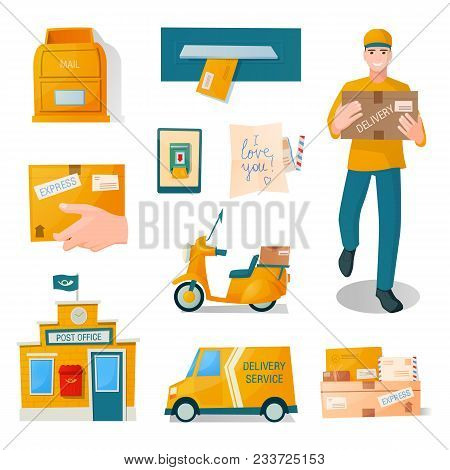 Postal Fast Free Service Delivery Of Parcels, Correspondence, Letters, Parcels. Man Delivery, Man Wi