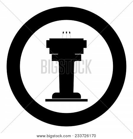 Rostrum With Three Microphone Icon Black Color In Circle Vector Illustration