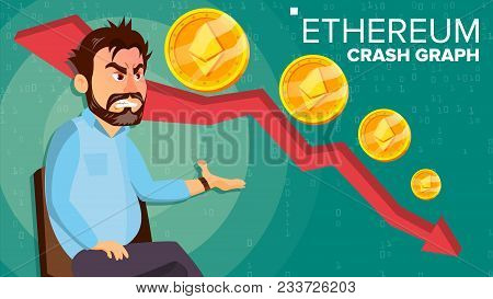 Ethereum Crash Graph Vector. Surprised Investor. Negative Growth Exchange Trading. Collapse Of Crypt