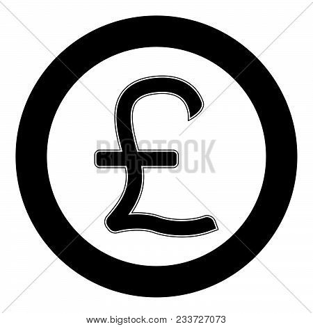 Pound Sterling Icon Black Color In Circle Vector Illustration