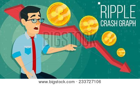 Ripple Crash Graph Vector. Surprised Investor. Negative Growth Exchange Trading. Collapse Of Crypto