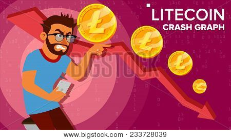 Litecoin Crash Graph Vector. Surprised Investor. Negative Growth Exchange Trading. Collapse Of Crypt