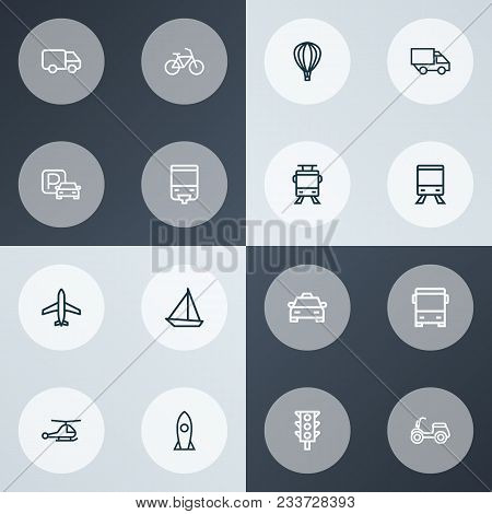 Shipment Icons Line Style Set With Stoplight, Bicycle, Missile And Other Streetcar Elements. Isolate