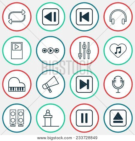 Audio Icons Set With Fast Forward Song, Megaphone, Musical Device And Other Last Song Elements. Isol