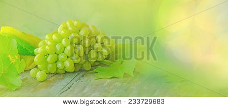 Gold Grapes And Leaves On Sunlight Bokeh Background