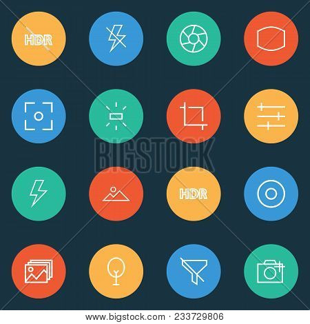 Image Icons Line Style Set With Dartboard, Image, Lightning And Other Add A Photo Elements. Isolated