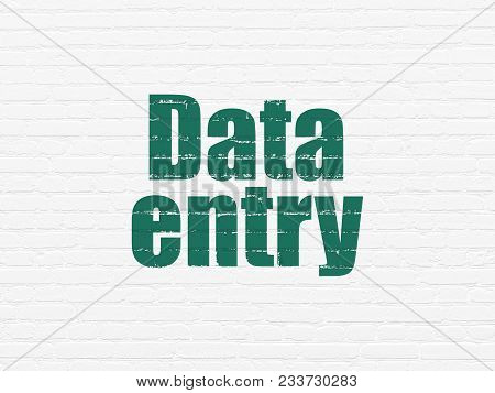 Information Concept: Painted Green Text Data Entry On White Brick Wall Background