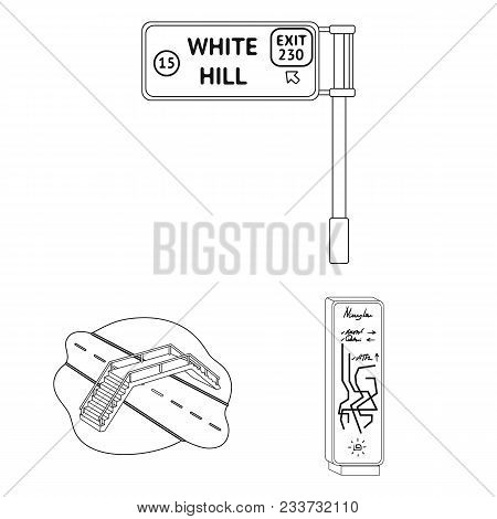 Road Junctions And Signs And Other  Icon In Outline Style.pedestrian Crossings And Signs Icons In Se