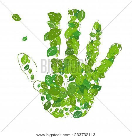 Palm Print And Leaves, A Symbol Of Environmental Protection. Eco Friendly Concept, The Green Footpri