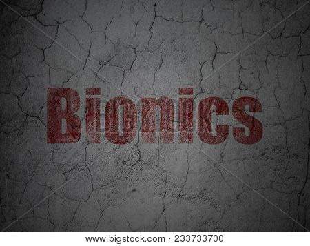 Science Concept: Red Bionics On Grunge Textured Concrete Wall Background