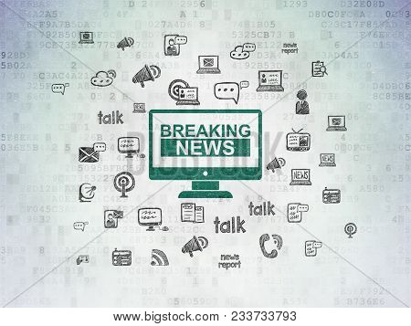 News Concept: Painted Green Breaking News On Screen Icon On Digital Data Paper Background With  Hand