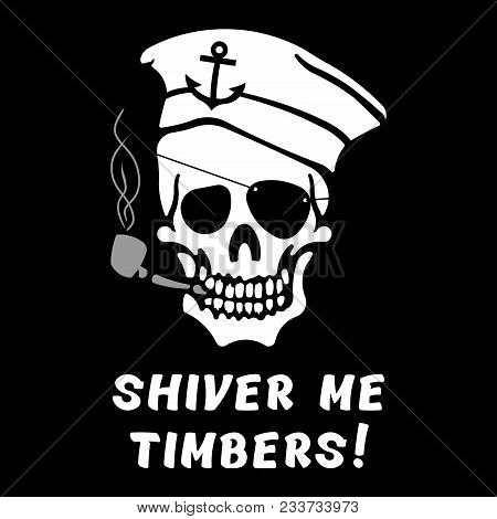Vector Image Of Skull Captain With Inscription