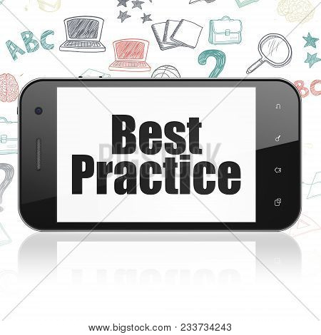 Studying Concept: Smartphone With  Black Text Best Practice On Display,  Hand Drawn Education Icons