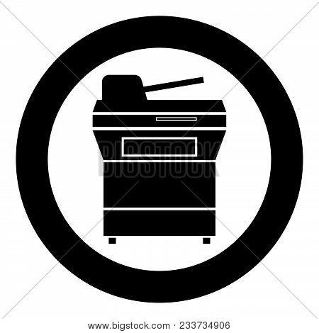 Multifunction Printer Or Automatic Copier Icon Black Color In Circle Vector Illustration