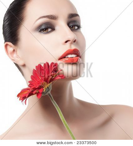 attractive woman portrait on white background poster
