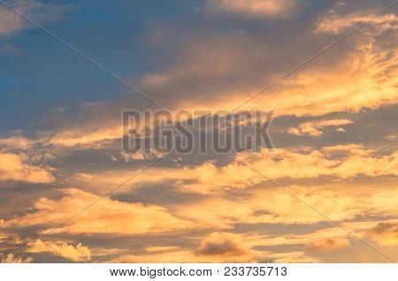 Dramatic Sunset Cloudy Sky With Picturesque Clouds Lit By Sunset Sunlight, Natural Sunset Sky Landsc