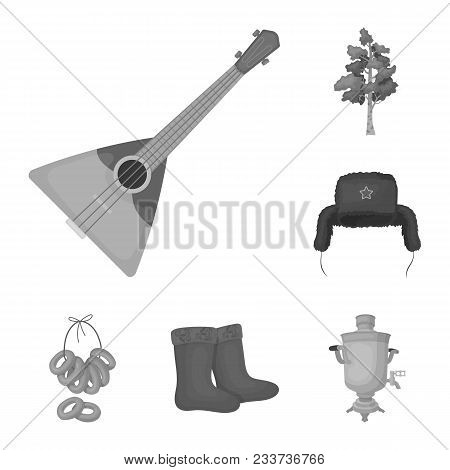 Country Russia, Travel Monochrome Icons In Set Collection For Design. Attractions And Features Vecto