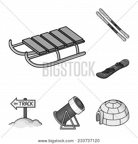 Ski Resort And Equipment Monochrome Icons In Set Collection For Design. Entertainment And Recreation