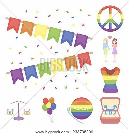 Gay And Lesbian Cartoon Icons In Set Collection For Design.sexual Minority And Attributes Vector Sym