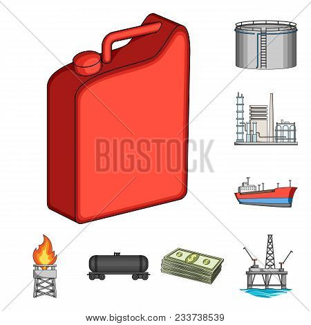 Oil Industry Cartoon Icons In Set Collection For Design. Equipment And Oil Production Vector Symbol