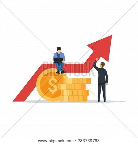 Business Growth Graph. Successful Business People Carrying Graph Indicating Growth. Business Growth