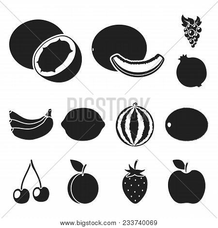 Different Fruits Black Icons In Set Collection For Design. Fruits And Vitamins Vector Symbol Stock