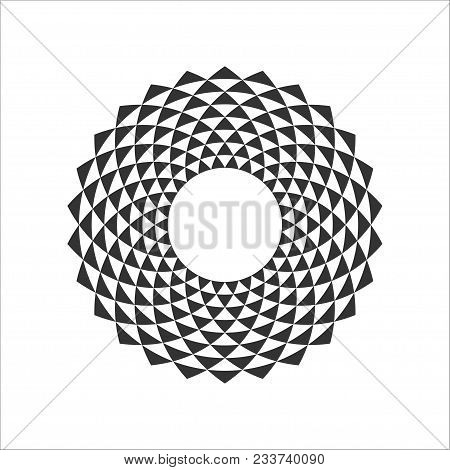 Black And White Abstract Circle Design Element With Triangle Pattern. Circle Border. Decorative Ring
