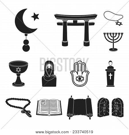Religion And Belief Black Icons In Set Collection For Design. Accessories, Prayer Vector Symbol Stoc