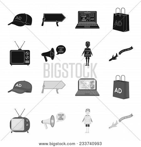 Tv, Megaphone, A Man With A Poster, An Airplane With A Banner.advertising, Set Collection Icons In B