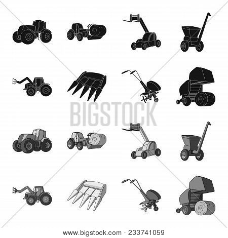 Motoblock And Other Agricultural Devices. Agricultural Machinery Set Collection Icons In Black, Mono