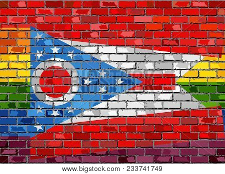 Brick Wall Ohio And Gay Flags - Illustration, Rainbow Flag On Brick Textured Background,  Abstract G