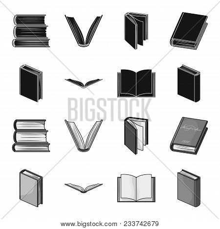 Various Kinds Of Books. Books Set Collection Icons In Black, Monochrome Style Vector Symbol Stock Il