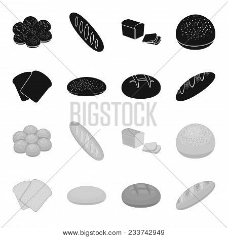 Toast, Pizza Stock, Ruffed Loaf, Round Rye.bread Set Collection Icons In Black, Monochrome Style Vec