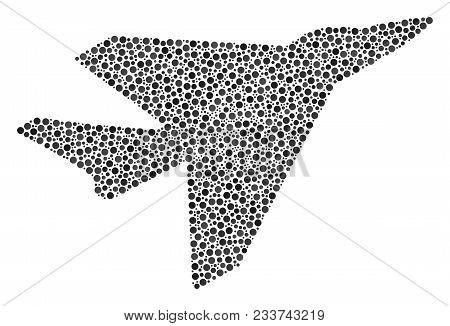 Airplane Intercepter Collage Of Dots In Variable Sizes And Color Tones. Circle Elements Are United I