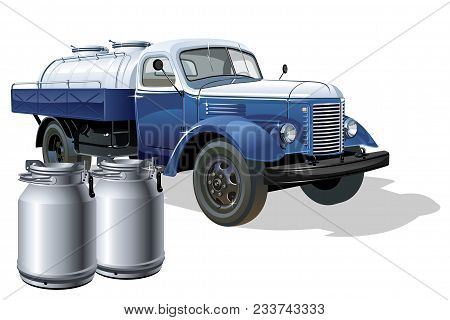 Vector Retro Delivery Milk Tanker Truck. Available Eps-10 Vector Format Separated By Groups And Laye