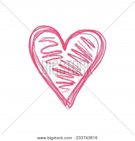 Doodle Isolated Pink Scribble Love Heart Symbol. Hand Drawn Tender Red Heart Sign For Lovely Events