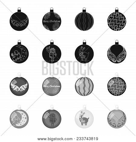 New Year Toys Black, Monochrome Icons In Set Collection For Design.christmas Balls For A Treevector