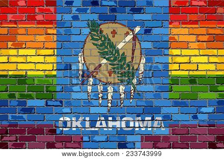 Brick Wall Oklahoma And Gay Flags - Illustration, Rainbow Flag On Brick Textured Background,  Abstra