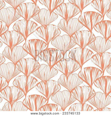 Delicate Seamless Vector Flower Pattern With Ginkgo Leaves. Dense Pink Floral Style Repeat Texture F