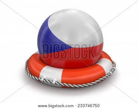 3d Illustration. Ball With Czech Flag On Lifebuoy. Image With Clipping Path