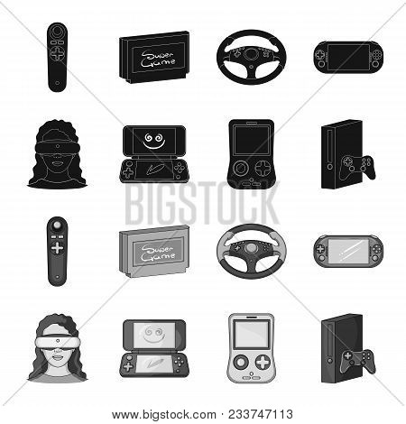 Game Console And Virtual Reality Black, Monochrome Icons In Set Collection For Design.game Gadgets V