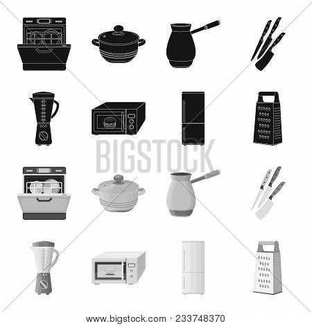 Kitchen Equipment Black, Monochrome Icons In Set Collection For Design. Kitchen And Accessories Vect