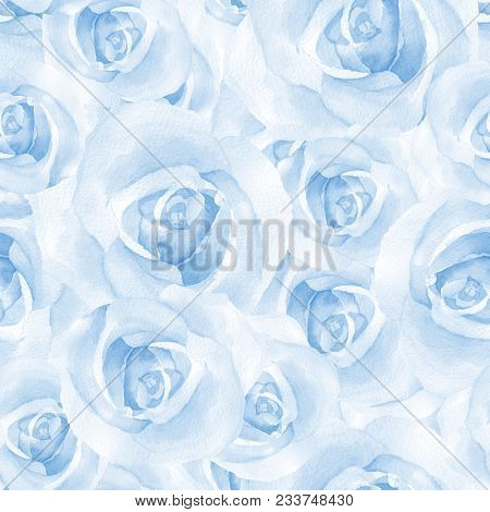 Delicate Blue Roses. Watercolor Floral Seamless Pattern
