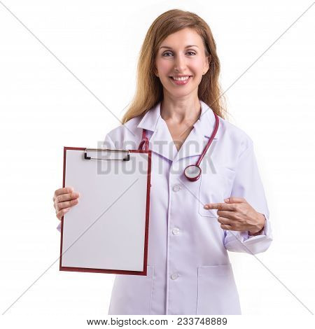 Beautiful Caucasian Doctor Wear White Suit And Holding White Clipboard, Paper With Red Stethoscope I