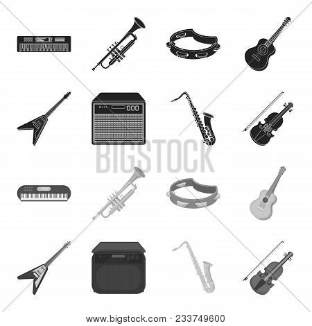 Electric Guitar, Loudspeaker, Saxophone, Violin.music Instruments Set Collection Icons In Black, Mon