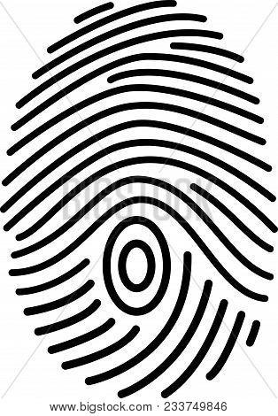 Fingerprint Scan Icon. Black Lines. Emblem. Logo